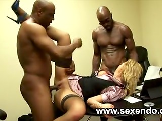 Lascivious secretary gets penetrated by two black-skinned pals with monster cocks after the good deal