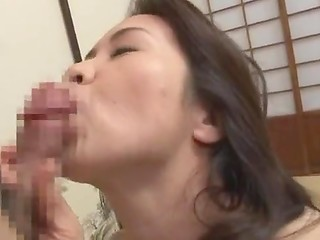 Juicy Japanese housewife with natural breasts gets drilled and then gets her pretty face covered with cum