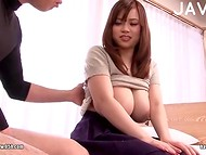 Busty bitch from the Japan demonstrates her big milking breasts and stimulates sensitive nipples