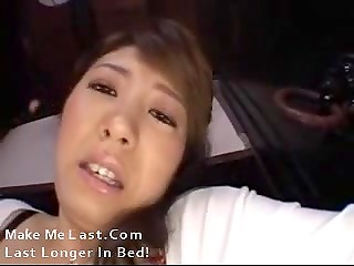 Man fingered unshaved pussy of the attractive Japanese woman with huge breasts
