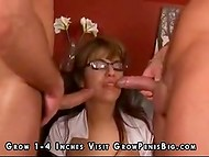 Impressive selection of wonderful cumshots on the faces of the pretty chicks with glasses