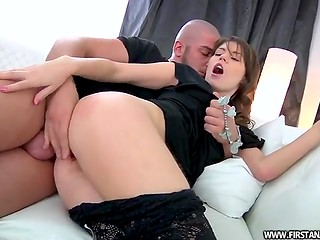 Her attractive butt cheeks were exposed for punishment until guy finished with a load on her face