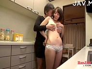 Young Japanese chick presented her lunatic with glasses the spontaneous blowjob in the middle of the night