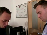 Granny made two naughty fellows happy in the office after fixing her favorite PC 8