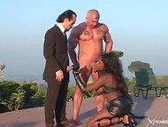 Black-skinned lady surely likes, when two wieners are getting deep inside of her holes 4