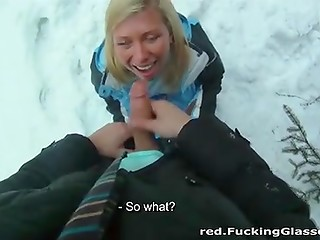 Amazing blonde is snowboarding and sucking her friend's pecker in the fresh air