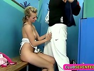 Young sexy chick decided to fool around with her trainer in the locker room 4