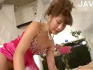 Rich Japanese man presented the pink dress to his beauty and gained unlimited access to her hairy cave 9