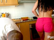 Young Spanish flirt with glasses decided to fuck the cook and squirted in the kitchen 4
