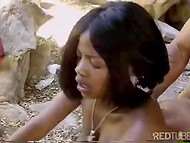 Busty babe from tribe lured the black-skinned hunter into the cave for the wild banging 9