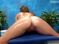 Playful bombshell enjoys this oil massage, which turns into hot fucking action 9