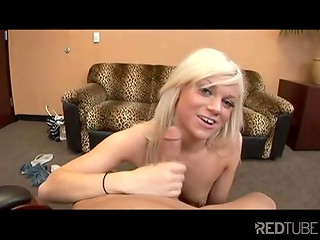 After a short conversation young blonde babe decided to taste cameraman's cock in the POV style video