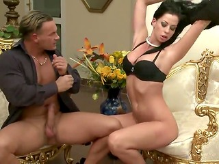 Pretty nice chick with delicious boobies fucks her new boyfriend on the luxurious chair
