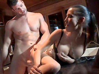 Muscular macho anally pounded his charming brunette in sexy apron on the kitchen table