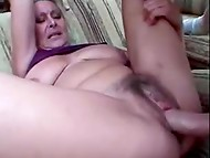 Mad mature woman makes her pool cleaner to fuck her hungry unshaved pussy