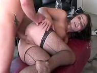 Appetizing MILF in sexy stockings gets facialized in the group anal sex on the veranda