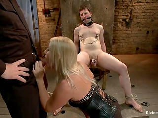 Scared man was tortured by blonde dominatrix and forced to watch how she gives head to the stranger