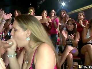 Girls of all ages and races worked with their mouths to please hot dancing stripper