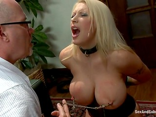 Blonde MILF with huge boobs was tied up and deepthroated by adult man with sexual deviations