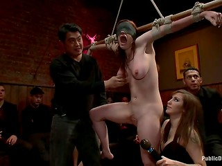 Teen redhead was publicly humiliated and tortured by bunch of sexual sadists in their lair