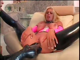 Lesbian hot party with artificial penises in vaginas