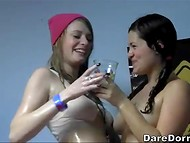 Seductive young bitches rapidly became wet when an usual student party turned into a group sex