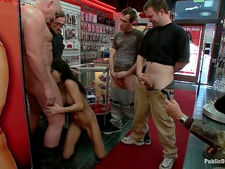 Resourceful shopkeeper found an awesome way to attract the clients by an available whore