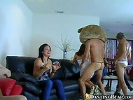 Bold stripper in bear costume was playing with dildos and wet mouths of horny girls