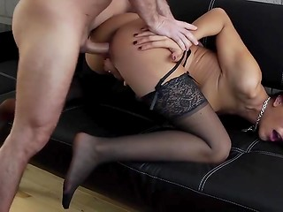 Dirty brunette in sexy stockings knows that wonderful blowjob goes before vagina penetrations