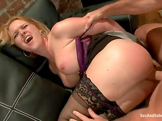 Adorable dame prefers to feel like a slave during the dirty BDSM porn scene