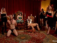A crowd of wicked girls took the domination under weak guys and punished them