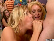 Two blonde tramps participated in the hot threesome during massive orgy party