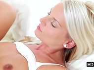 Beautiful video about tanned blonde girl having tender sex with her beloved boyfriend on the bed  9