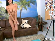 Brave brunette gal took all clothes off and showed her stunning body for agent on the casting  9