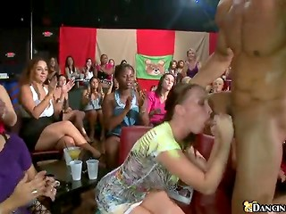 Young hotties can not wait to taste athletic strippers' cocks at the party