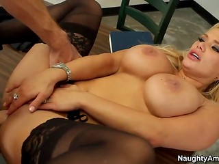 Beautiful MILF with huge tits fucked ardently naughty dude's cock on the desk