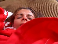 Beautiful girl in a red dress fucked by two guys and received cum on her face 4