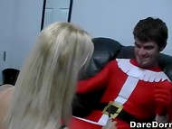Hot sex games in the dressing room with Santa Claus and three wet pussy 5