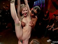 Flexible chick with small tits, who loves BDSM, is tied up, fingered and satisfied by strangers