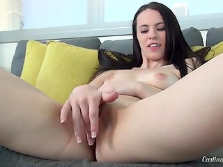 Attractive black-haired wench allowed porn agent to masturbate her fresh pusshole