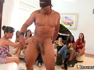 Handsome stripper was playing with his huge stick in the holes of horny women