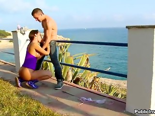 Perfect lady with giant melons presented her man great blowjob in the public place