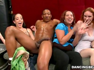 Dark-skinned dancer with muscled body and huge dick fells comfortable doing his job