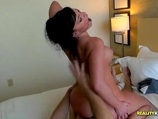 Charming brunette with wonderful body shapes has an amazing sex with her lovely partner