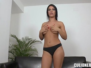 Brunette with beautiful body tries to pass interview in the casting video