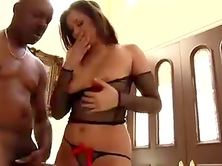 Slutty brunette gets her tiny holes banged by ebony dude