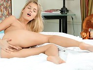 Charming babe stimulated her gentle asshole with experienced fingers in the HD solo video  10