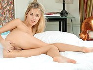 Charming babe stimulated her gentle asshole with experienced fingers in the HD solo video  8