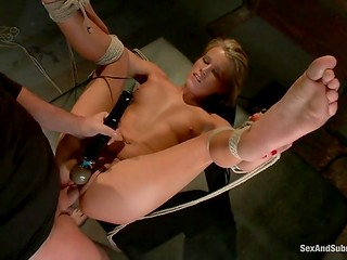 Tied girl is submissive and she can't oppose the orders of her pervert master