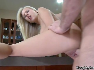 Hot sex and tasty blowjob are organized in the spacious kitchen of adorable blonde